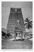 The main Gopuram in Kumbakonam, India. Engraving from 'Le Tour du Monde'