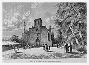 Church, Philippines. Engraving from 'Le Tour du Monde'
