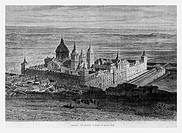 El Escorial monastery, Spain. Engraving from 'Le Tour du Monde'
