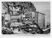 Monastery of Montserrat, Spain. Engraving from 'Le Tour du Monde'