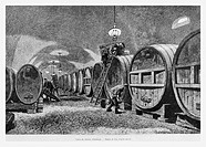 Chateau d'Isenburg winery, Alsace, France. Engraving from 'Le Tour du Monde'