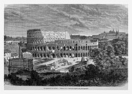 Colosseum, Rome, Italy. Engraving from 'Le Tour du Monde'