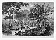 Niams-Niams village, Africa. Engraving from 'Le Tour du Monde'