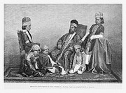 Delhi imperial family, India. Engraving from ´Le Tour du Monde´