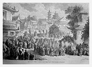 Burial ceremony, Beijing, China. Engraving from 'Le Tour du Monde'