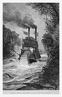 Steamer, Colombia. Engraving from 'Le Tour du Monde'