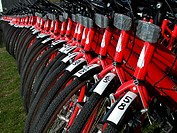 Red bicycles parked in row  Gotland, Sweden