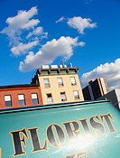 Florist sign painted on a delivery van parked on 10th Avenue in New York City. Brownstone building in the background, bright blue sky overhead. USA