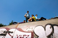 Teenage boys on top of tunnel (thumbnail)