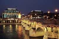Samaritaine Department Store and the Pont Neuf bridge. Paris. France.