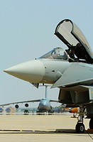 Spanish Eurofighter Typhoon aircraft. C-5 Galaxy can be seen in background (may, 2005)
