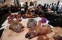 Meat stall at Libreville market. Gabon