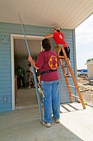 10 new residential homes are constructed by Habitat for Humanity in Port Huron. Michigan, USA