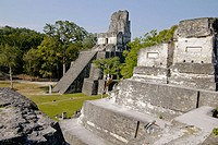 Temple II from North Acropolis. Mayan ruins of Tikal. Peten region, Guatemala