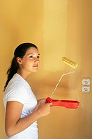 16 year old teengirl painting wall, home improvement