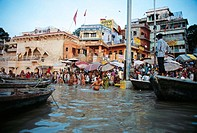 Ghats (riverbank) on the Ganges River, Varanasi. Uttar Pradesh, India