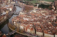 Old town and Nervión River, Bilbao, Basque Country, Spain