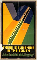 Southern Railway poster by P Irwin Brown. Stylised illustration of locomotive streaming from tunnel. Published by Southern Railway Advertising and pri...