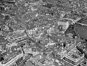 View of Central London showing the Mall, Charing Cross Station, Whitehall and Theatreland.