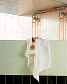 Medal and towel on wall