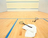 Squash rackets on court