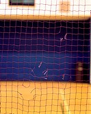 Torn net in gymnasium
