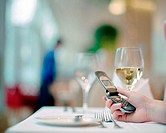 Woman text messaging in restaurant