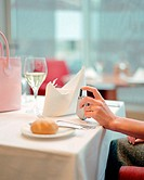 Woman sitting in restaurant