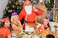 Santa claus at christmas dinner