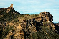 Roque Nublo seen from Degollada de Becerra viewpoint. Cumbres region. Gran Canaria. Canary Islands. Spain