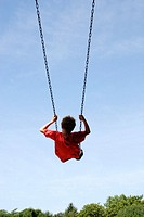 Boy in red shirt on swing