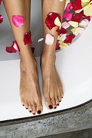Woman´s bare feet with rose pedals
