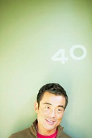 Close up of man with number 40 above his head