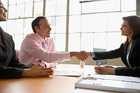 Businesspeople shaking hands across table