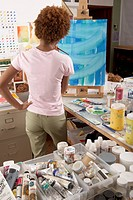 Rear view of woman in art studio