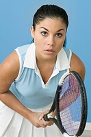 Teen girl ready to play tennis