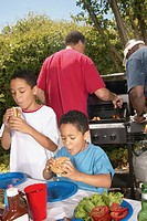 Boys eating hamburgers at backyard barbecue