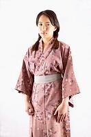 Portrait of woman wearing kimono