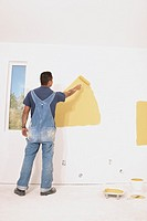 Rear view of man painting walls