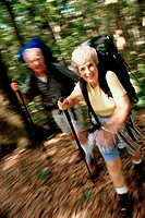 Portrait of a senior couple hiking