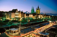 The Gross St. Martin and Rhine River. Cologne. Germany
