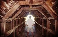 Man in tunnel on hike beach. Big Sur. California. USA.