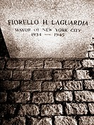 The grave site of Mayor Fiorello H. Laguardia, one of the most influential mayor's in New York's history.  Distorting angle from above, gives the scen...