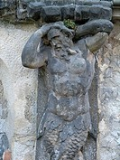 Detail of statue, castle garden Zakupy, Czech Republic