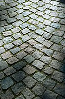 Cobble stone pattern outside Vor Frelsers Kirke, Copenhagen, Denmark