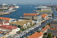 Aerial view towards harbour, Copenhagen, Denmark