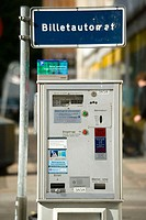 Parking meter ticket dispenser in street, Copenhagen, Denmark