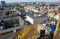 Aerial view from tower of Vor Frelsers Kirke, Copenhagen, Denmark