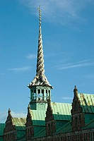 Spire in the form of four intertwined dragons tails on the Borsen, the Old Stock Exchange, Copenhagen, Denmark