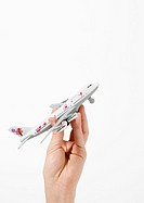 Hand holding toy airplane